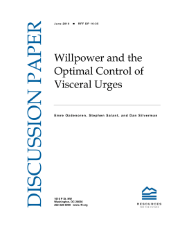 DISCUSSION PAPER Willpower and the Optimal Control of