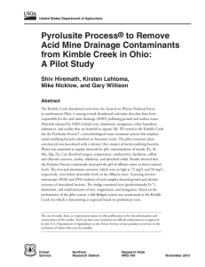 Pyrolusite Process to Remove Acid Mine Drainage Contaminants from Kimble Creek in Ohio: