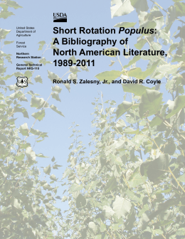 Populus A Bibliography of North American Literature, 1989-2011