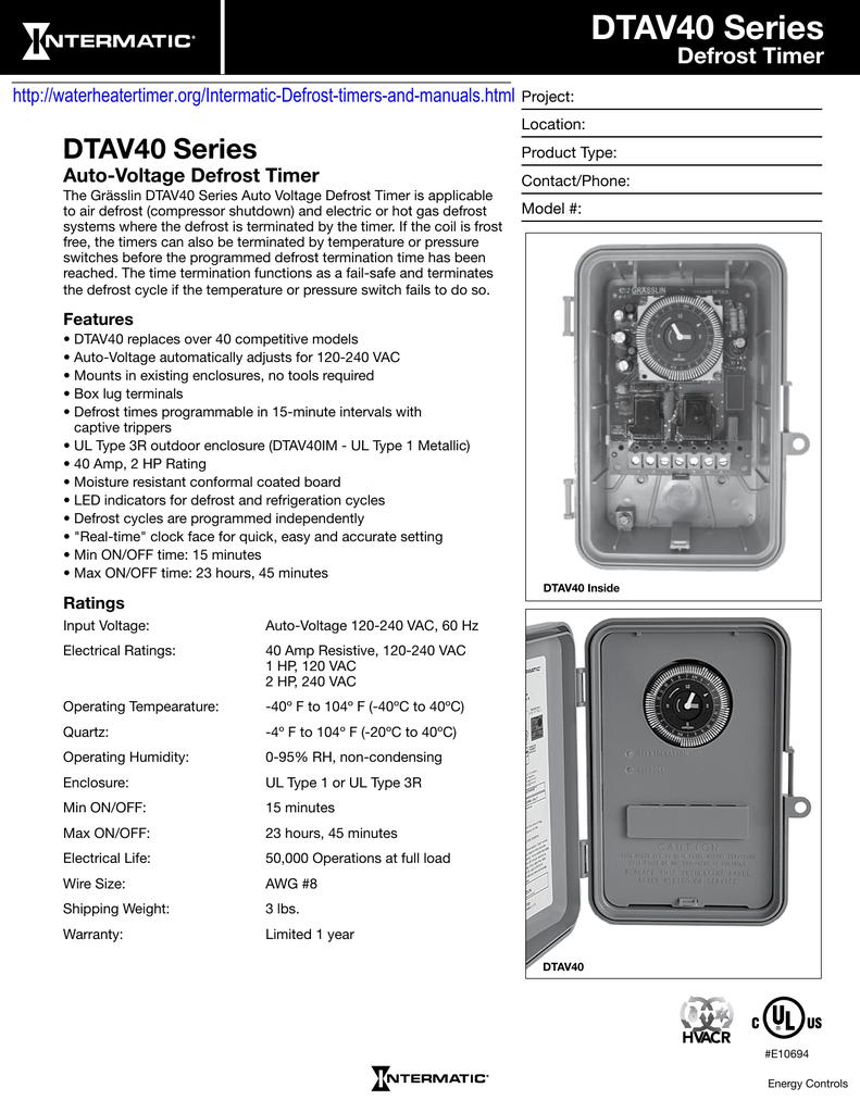 Dtav40 Series Defrost Timer Auto Voltage Defrost Timer