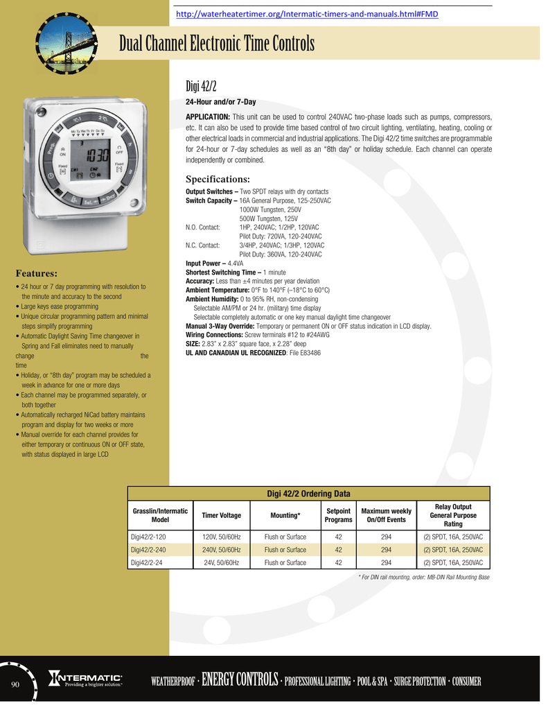 Dual Channel Electronic Time Controls Digi 42 2 Intermatic Clock Wiring Diagram