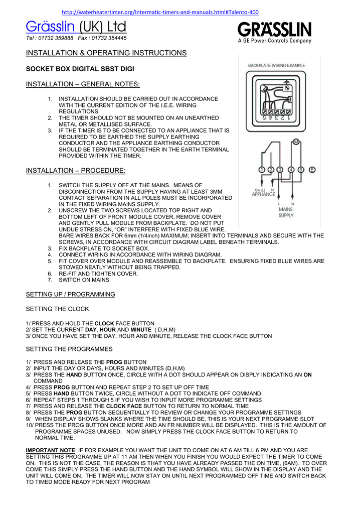 intermatic digital timer wiring diagram gr  sslin  uk  ltd installation  amp  operating instructions  installation  amp  operating instructions