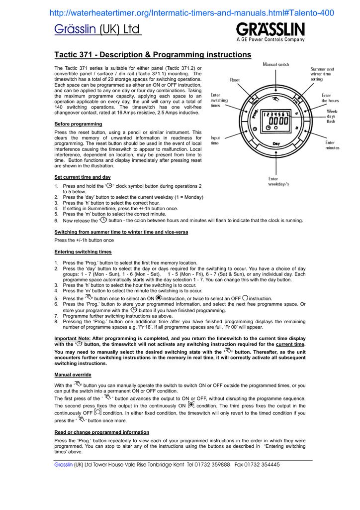 Grsslin Uk Ltd Tactic 371 Description Programming Instructions