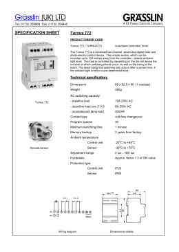 Grässlin (UK) LTD  SPECIFICATION SHEET