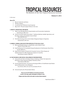 TROPICAL RESOURCES Volume 31, 2012