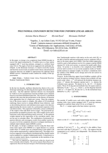 POLYNOMIAL EXPANSION DETECTOR FOR UNIFORM LINEAR ARRAYS Antonia Maria Masucci Øyvind Ryan