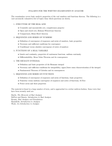 SYLLABUS FOR THE WRITTEN EXAMINATION IN ANALYSIS