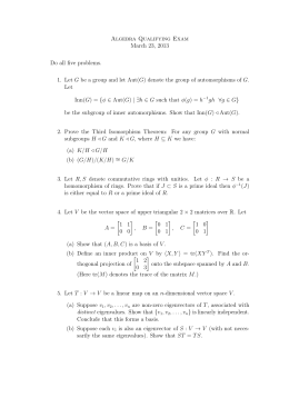 Algebra Qualifying Exam March 23, 2013 Do all five problems.