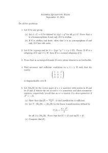 Algebra Qualifying Exam September 15, 2011 Do all five problems.