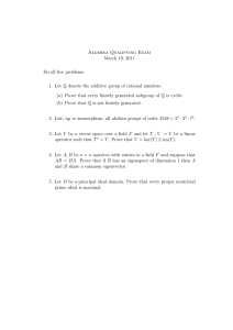 Algebra Qualifying Exam March 19, 2011 Do all five problems.