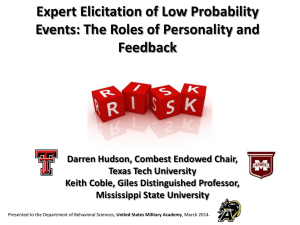 Expert Elicitation of Low Probability Events: The Roles of Personality and Feedback