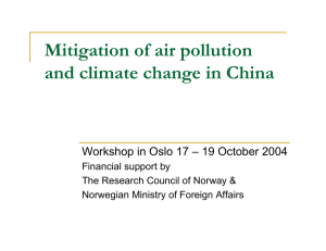 Mitigation of air pollution and climate change in China Financial support by