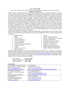CALL FOR PAPERS Cognitive Radio Systems