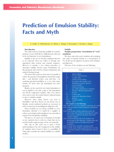 Prediction of Emulsion Stability: Facts and Myth Cosmetics and Toiletries Manufacture Worldwide
