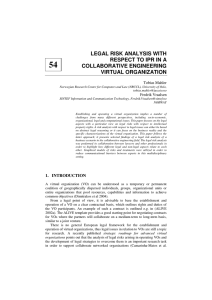 54 LEGAL RISK ANALYSIS WITH RESPECT TO IPR IN A COLLABORATIVE ENGINEERING