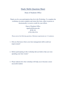 Study Skills Question Sheet Dean of Students Office