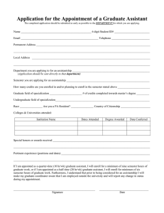 Application for the Appointment of a Graduate Assistant
