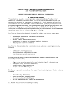 PENNSYLVANIA STANDARDS FOR PROGRAM APPROVAL AND TEACHER CERTIFICATION: SUPERVISORY CERTIFICATE (GENERAL STANDARDS)