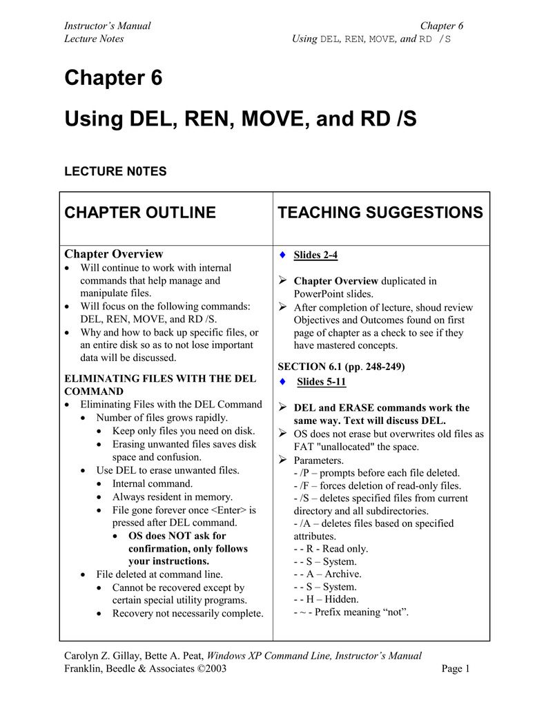 Chapter 6 Using Del Ren Move And Rd S Chapter Outline Teaching