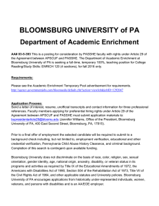 BLOOMSBURG UNIVERSITY of PA Department of Academic Enrichment