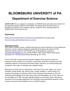 BLOOMSBURG UNIVERSITY of PA Department of Exercise Science