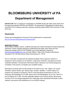 BLOOMSBURG UNIVERSITY of PA Department of Management
