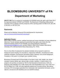 BLOOMSBURG UNIVERSITY of PA Department of Marketing