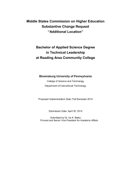 "Middle States Commission on Higher Education Substantive Change Request ""Additional Location"""