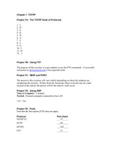 Chapter 7. TCP/IP  Project 7A:  The TCP/IP Suite of Protocols