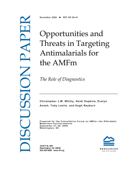 Opportunities and Threats in Targeting Antimalarials for