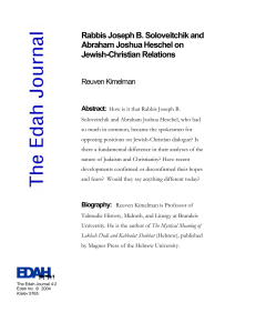 Rabbis Joseph B. Soloveitchik and Abraham Joshua Heschel on Jewish-Christian Relations Reuven Kimelman