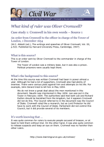 What kind of ruler was Oliver Cromwell? London, 1 December 1654