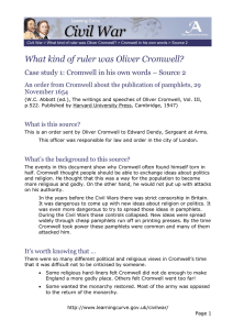 What kind of ruler was Oliver Cromwell? November 1654