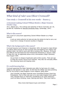 What kind of ruler was Oliver Cromwell? October 1655
