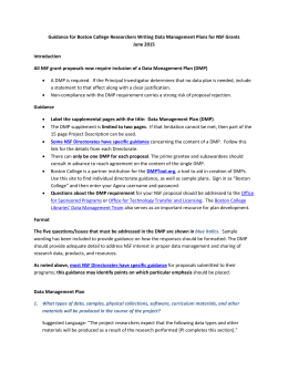 Guidance for Boston College Researchers Writing Data Management Plans for... June 2015 Introduction