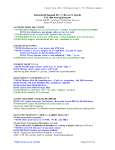 Institutional Research 2014-15 Research Agenda Fall 2014 Accomplishments