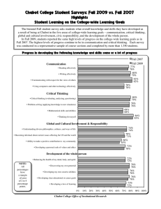 Chabot College Student Surveys: Fall 2009 vs. Fall 2007 Highlights