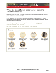 What did the different leaders want from the Treaty of Versailles?
