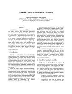 Evaluating Quality in Model-Driven Engineering  Parastoo Mohagheghi, Jan Aagedal
