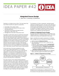 IDEA	PAPER	#42 Integrated Course Design L. Dee Fink • University of Oklahoma