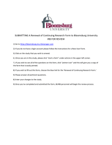 SUBMITTING A Renewal of Continuing Research Form to Bloomsburg University
