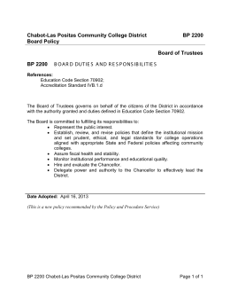 Chabot-Las Positas Community College District BP 2200 Board Policy Board of Trustees