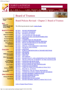Board Policies Revised - Chapter 2: Board of Trustees