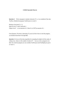 CS5302 Tutorial6 (Week 6) Boolean isAncestor(T, u, v):