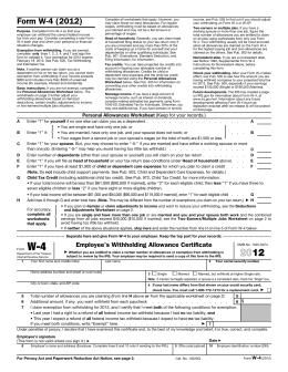 Federal W-4 Tax Form