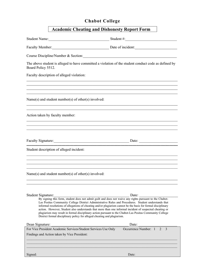 chabot college academic cheating and dishonesty report form