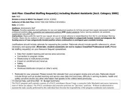 Unit Plan: Classified Staffing Request(s) including Student Assistants [Acct. Category...