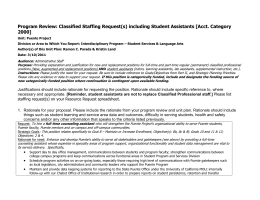 Program Review: Classified Staffing Request(s) including Student Assistants [Acct. Category 2000]