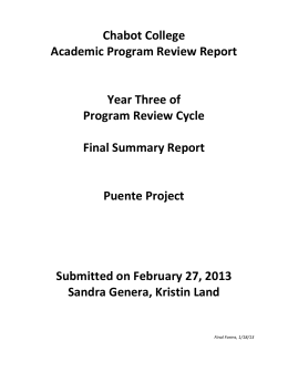 Chabot College Academic Program Review Report  Year Three of