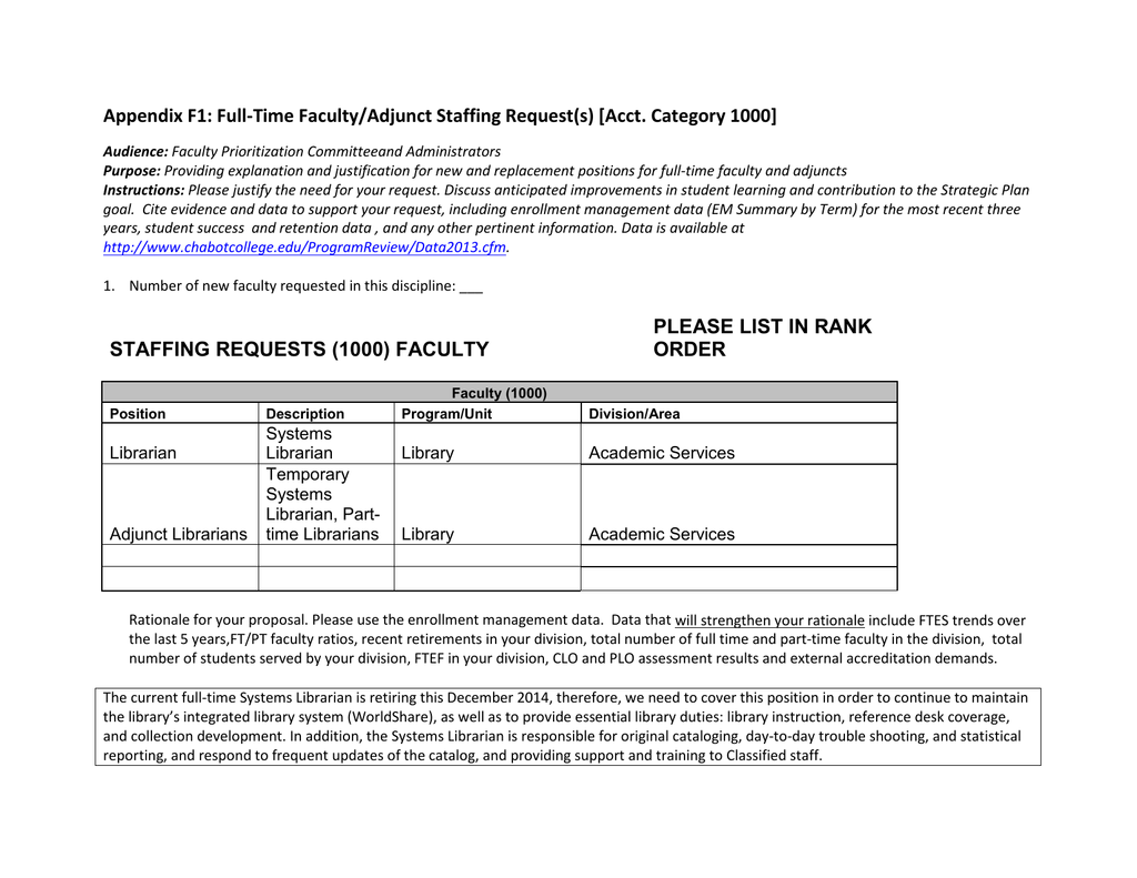 Appendix F1: Full-Time Faculty/Adjunct Staffing Request(s) [Acct